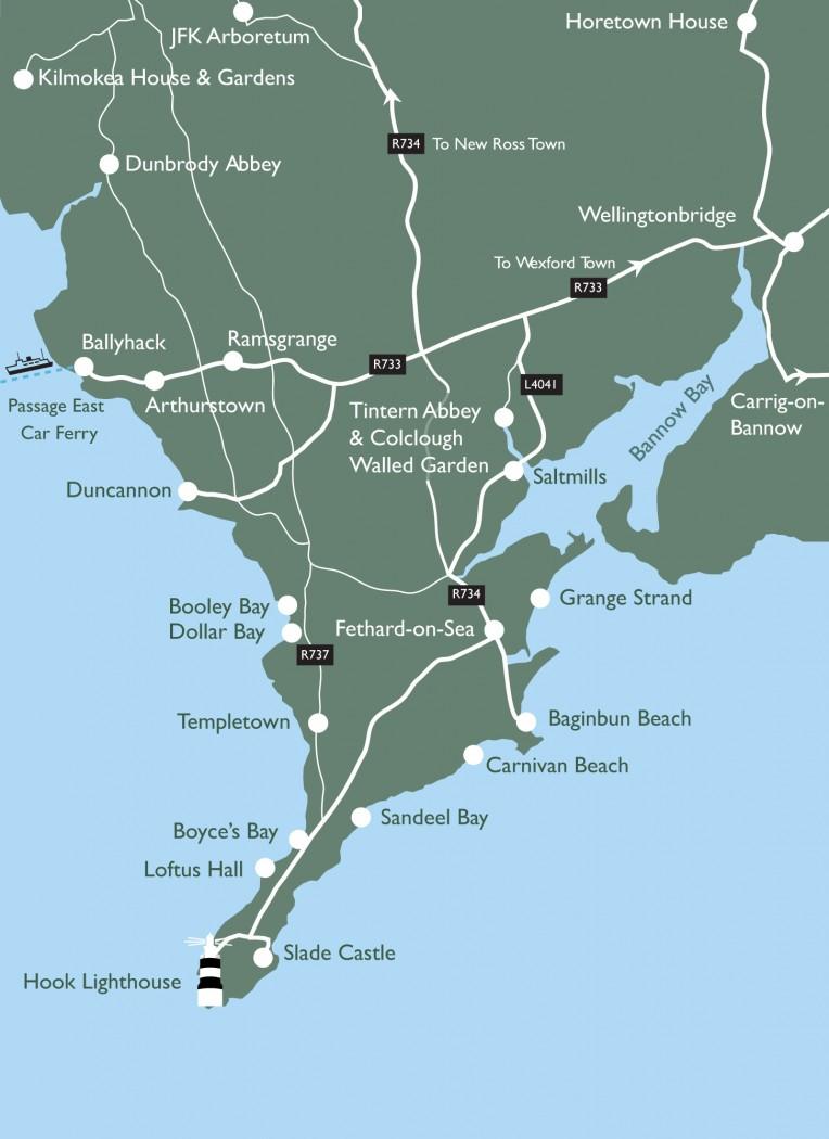 Map Of Ireland Beaches.Beaches Hook Peninsula