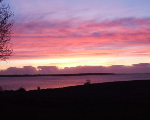 The Norman View Motorhome Park, Ramstown, Fethard-on-Sea, Hook Peninsula, sunset